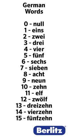 german words for numbers