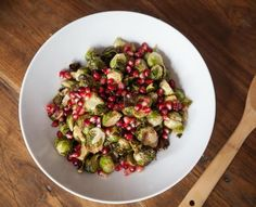 Honey Mustard Glazed Brussels Sprouts with Pomegranates = the perfect Thanksgiving side dish.