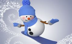 Download wallpapers 3d snowman, winter, snowboard, Christmas, winter sports