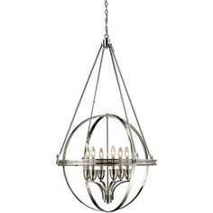 Openwork globe-inspired chandelier with a polished nickel finish.   Product: Chandelier Construction Material: Meta...