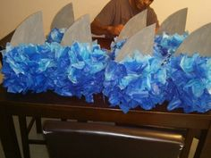 Shark centerpieces i made for a family member! Very simple and cute! More pics… 4th Birthday Parties, Birthday Fun, Birthday Ideas, Invitation Fete, Shark Party, Party Centerpieces, First Birthdays, Baby Shark, Sea Shark