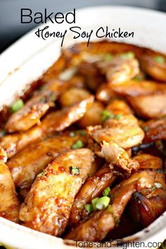 Make it healthy by baking not frying! Oven-Baked Honey Soy Chicken on Tone-and-Tighten.com - a family favorite!
