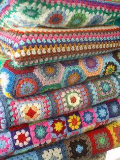 La ventana azul: Mantas crochet