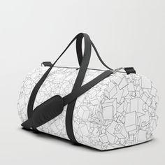 Cubic B&W / Lineart texture of 3D cubes Duffle Bag