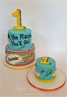 Oh! The Places You'll Go! First birthday cake with smash cake