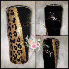 Elvis Icon Leopard Glittered 30 oz Skinny Tumbler #elvis #leopard #tumbler #icon #handsome #custom