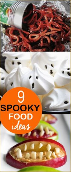 9 Spooky Food Ideas.  Make your party guests squirm as they dig into these creative dishes.  Halloween appetizers, desserts and snacks everyone will love.  Class Halloween party food ideas.