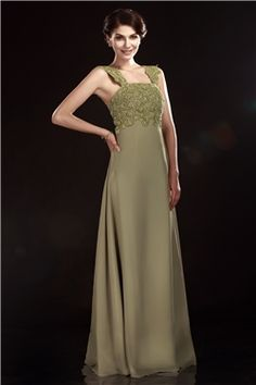 Gorgeous A Line Square Neckline Floor Length Appliques Olgas Mother Of Bride Dress & fairy Mother of the Bride Dresses