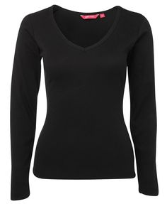 Code: 1LLR Name: LADIES L/S V-NECK RIB TEE 1LLR Size: 8 | 10 | 12 | 14 | 16 | 18 Available Colours: Black Description: Perfect for work or casual comfort, this