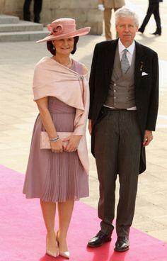 Princess Margaretha of Liechtenstein and Prince Nicolaus of Liechtenstein attend the wedding ceremony in Luxembourg on 20 Oct 2012