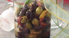 citrus marinated olives with roasted peppers
