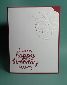 Happy Birthday Mom- CAS card using the happy birthday stamp from the May 2015 Paper Pumpkin, a mini Sizzix embossing folder and the new Stampin Up Curvy Corner Trio Punch