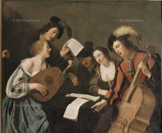 Ecole Francaise du XVIIe siècle, Baroque, Bass, Musical Instrument, Cap, Hat, Concert, Music, Group, Lute, Musician, Painting, Medium, Plume, School, French, Singer, Viola da Gamba, Woman