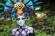 A model poses for a picture during the World Bodypainting Festival 2015 in Poertschach, Austria.  Photo: Getty Images