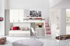 mobilier chambre enfant lit mezzanine  chaise à roulette et armoire de rangement