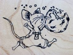 KIDSTAMPS Rubber Stamp LEAPING MOUSE W/ COOKIE Happy By Felicia Bond Illustrator