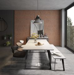 The Amsterdam Dining Table gives the whole family (or a half dozen friends) a squared off look that complements any square meal. The durable and lightweight proprietary concrete top is held aloft by a set of sturdy infinity legs in a black powder finish. Pair with the Amsterdam bench for casual seating. Table top and legs treated for outdoor use, if so desired. Cleanable, easy to care for surface with an unmistakably modern appeal.