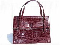 Vintage Alligator & Crocodile Skin Bags - RUBY RED 1950's-60's Alligator Skin Handbag - LUCILLE de PARIS