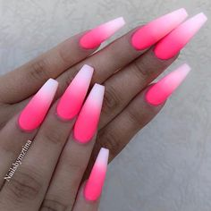 Hot Pink Ombre Nails Beautiful hot pink ombre coffin nails with matte finish by Ugly Duckling Nails page is dedicated to promoting quality, inspirational nails created by International Nail Simple Black Coffin Nail Designs For Winter Holidays Pink Ombre Nails, Pink Acrylic Nails, Hot Pink Nails, Pink Acrylics, Summer Nails Neon, Matte Pink Nails, Black Nails, Bright Pink Nails With Glitter, Acrylic Nails For Summer Coffin