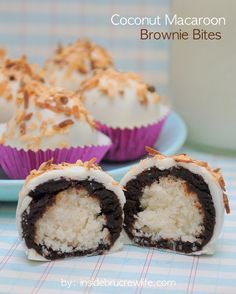 Coconut Macaroon Brownie Bites - coconut, brownies, and white chocolate in one delicious brownie bite