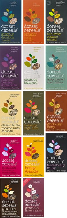 Dorset Cereals. A sophisticated packaging compared to typical cereal packaging. Use of the Typewriter typeface in lower case letters maintains a casual vibe. Colour types lend to the theme of being natural.