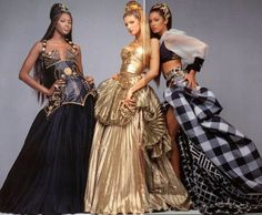 Naomi Campbell, Stephanie Seymour and Yasmeen Ghauri in Gianni Versace Fall/Winter 1992 collection.