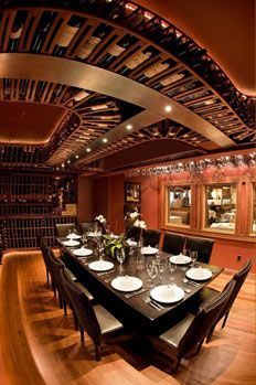 Wine Cellar... in the CEILING? We'll take this any day! (Brix Wine Cellar):