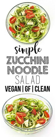 Simple Zucchini Noodle Salad This super simple zucchini noodle salad with tofu and tomatoes is so fresh and tasty! It is packed with flavor and nutrition yet super low in calories. Also low-carb vegan and gluten-free! Source by anniemarkowitz Delicious Vegan Recipes, Easy Healthy Recipes, Whole Food Recipes, Vegetarian Recipes, Easy Meals, Free Recipes, Vegetarian Lifestyle, Veggie Recipes, Lunch Recipes