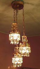 Antique Ceiling Light Brass French 3Lamps Vintage Flush Mount Crystal Chandelier