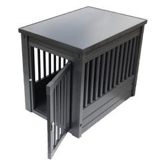 Inn Place Dog Crate in Espresso. I used to think crates were cruel, but now I understand that dogs like to be in small spaces sometimes. It helps them feel comfortable. I prefer this over the metal cages.