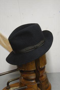569ef76f085 Vintage 50 s Dark Blue European Fur Felt Felt Beater Distressed Fedora  Trilby Hat Lembert EU 55 UK 6 3 4 US 6 7 8