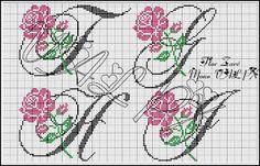 ENCANTOS EM PONTO CRUZ: Monograma de Rosas