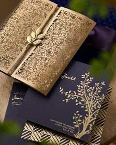 Laser cut wedding invitations- These are amazing so chic, simple, elegant, but royal and regal. Perhaps have the black- midnight blue. What do you think?