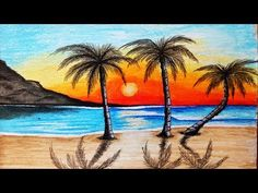 easy paintings of nature for kids nature painting drawing simple - nature painting drawing Easy Nature Paintings, Scenery Paintings, Nature Artwork, Palm Tree Paintings, Beautiful Paintings Of Nature, Watercolor Trees, Watercolor Landscape, Watercolour Painting, Landscape Drawings