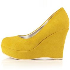Wedge Heel Joker Concise Yellow Platform Pumps
