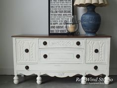 new life, painted furniture, rustic furniture Chalk Paint Furniture, Diy Furniture Projects, Recycled Furniture, Furniture Making, Furniture Makeover, Sideboard Furniture, Rustic Furniture, White Credenza, Open Concept Kitchen