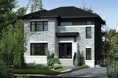 Contemporary Style House Plan - 3 Beds 1 Baths 1552 Sq/Ft Plan #25-4278 Exterior - Front Elevation - Houseplans.com