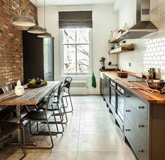 Image result for kitchen brick wall