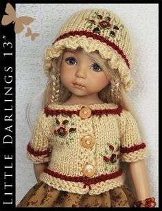 """Fall Burgundy Roses Outfit for Little Darlings Effner 13"""" Maggie & Kate Create"""