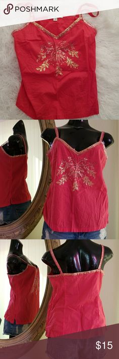 Tommy Hilfiger top Sz L Bright poppy with applique stitched to front and shoulder straps, add cutoffs,  to the beach I go!  Sz L, side zipper As pictured color Good condition  Thanks for looking at my closet and have a great day! Tommy Hilfiger Tops