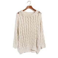 Mesh Loose Long Sleeve Knit Sweaters