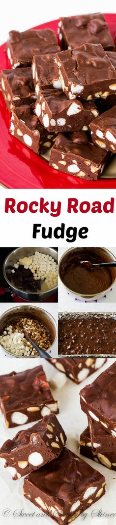 Smooth and silky chocolate fudge loaded with mini marshmallows and crunchy almonds! This rocky road fudge takes less than 30 minutes to make and it's a must for this holiday season!