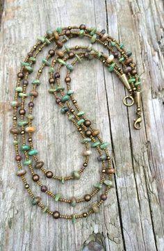 b668149f509d Green Turquoise Multi Strand Necklace with Brass and Jasper Accents Collar  De Piedras Preciosas
