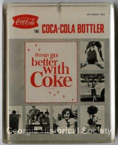 "Coca Cola - small plastic paper weight with an image of the September 1963 cover of the magazine, ""The Coca-Cola Bottler "" (Georgia Historical Society)"
