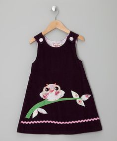 Take a look at this Purple Owl Corduroy Jumper - Infant, Toddler & Girls by Powell Craft on #zulily today!
