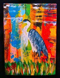 GREAT BLUE HERON~wood painting~bird~Abstract FOLK ART Maine outsider~COASTWALKER   eBay