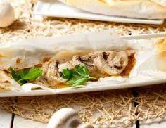 Cartucho de pescado y champiñones