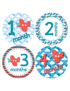 Baby Boy Monthly Onesie Stickers Airplanes by BuddhaBellies, $9.00