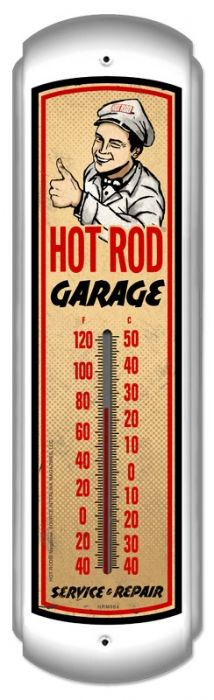 Vintage Hot Rod Garage Thermometer 5 x 17 Inches