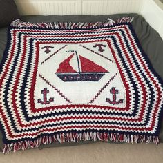Nautical red white blue crochet knit throw blanket nursery  sailing decor fourth of july american decor sailboat